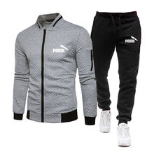 New Men's Sports Hoodie + pants 2-piece set Autumn Running Sportswear Zipper Sweatshirt Suit