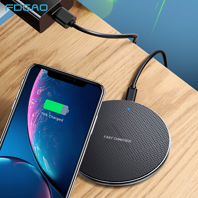 FDGAO 10W Qi Wireless Charger For iPhone 11 8 X XR XS Max Fast Charging Pad for Samsung S10 S9 S8 Note 10 9 Quick Charge QC 3.0