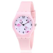 Nowe silikonowe cukierki kolor zegarek studencki dziewczyny zegar moda Flamingo zegarki dzieci zegarek Cartoon dziecięcy zegarek kwarcowy tanie tanio Vinkkatory Stop Klamra Nie wodoodporne Moda casual QUARTZ Szkło 23inch ROUND 16mm 34mm ZMMQ407