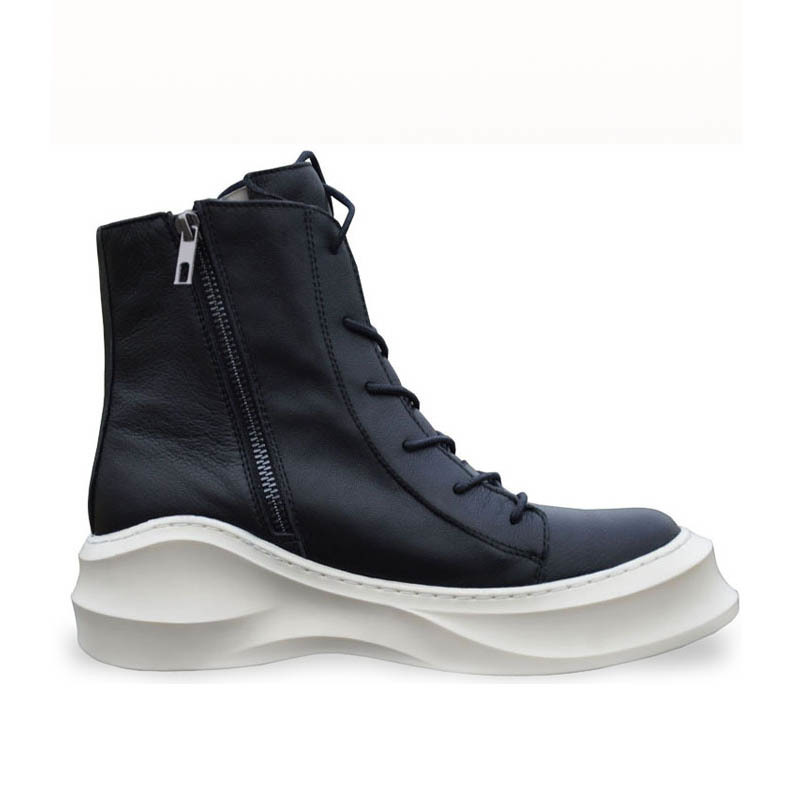 British Personality Mens  Boots Genuine Leather Motorcycle Casual Shoes Lace Up Zapatos New Thick Platform Winter Footwear