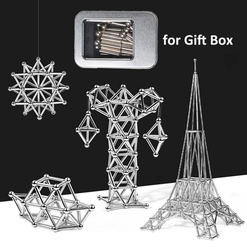 DIY Magnetic Designer Magnetic Building Blocks Construction Set Magnetic Sticks & Steel Balls Magnet Toys for Children Adults