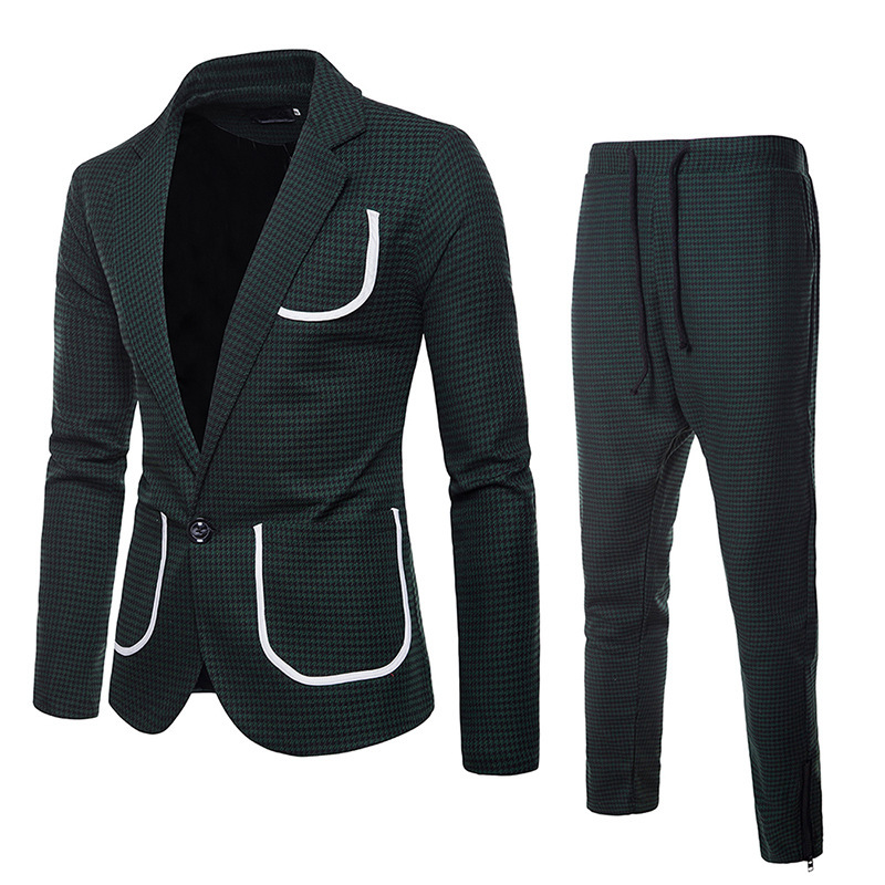 Mens Individual Thousand Birds Style, Big Body, Button Suit, Chao Turn-collar Suit men suit