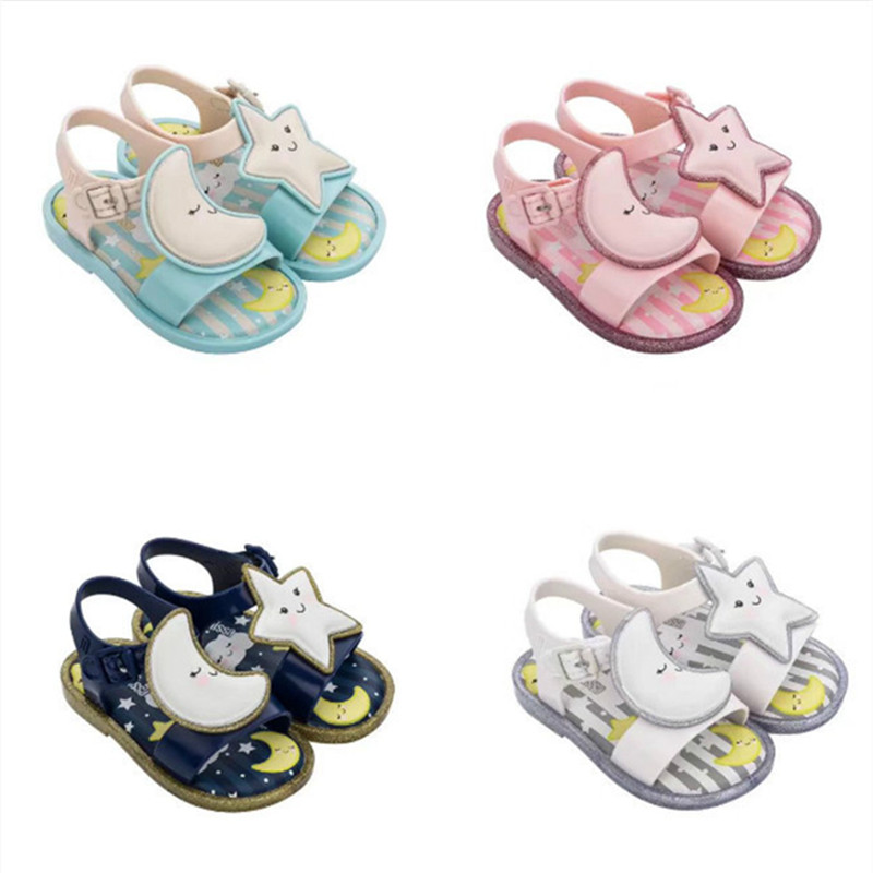 2020 New Mini Melissa Jelly Shoes Girl And Boy Fashion Summer Sandal Moon Star Children's Non Slip Flat Sole Beach Shoes  HMI006