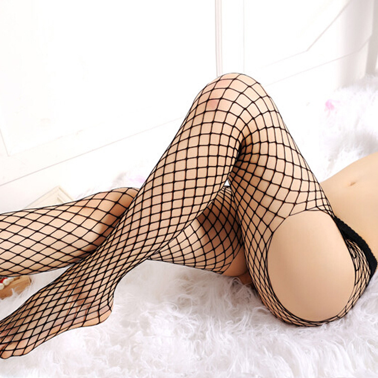 Hot Selling Women Sexy Stockings Open Crotch Pantyhose Female Black Fishnet Stocking Tights Erotic Lingerie Mesh Hosiery image