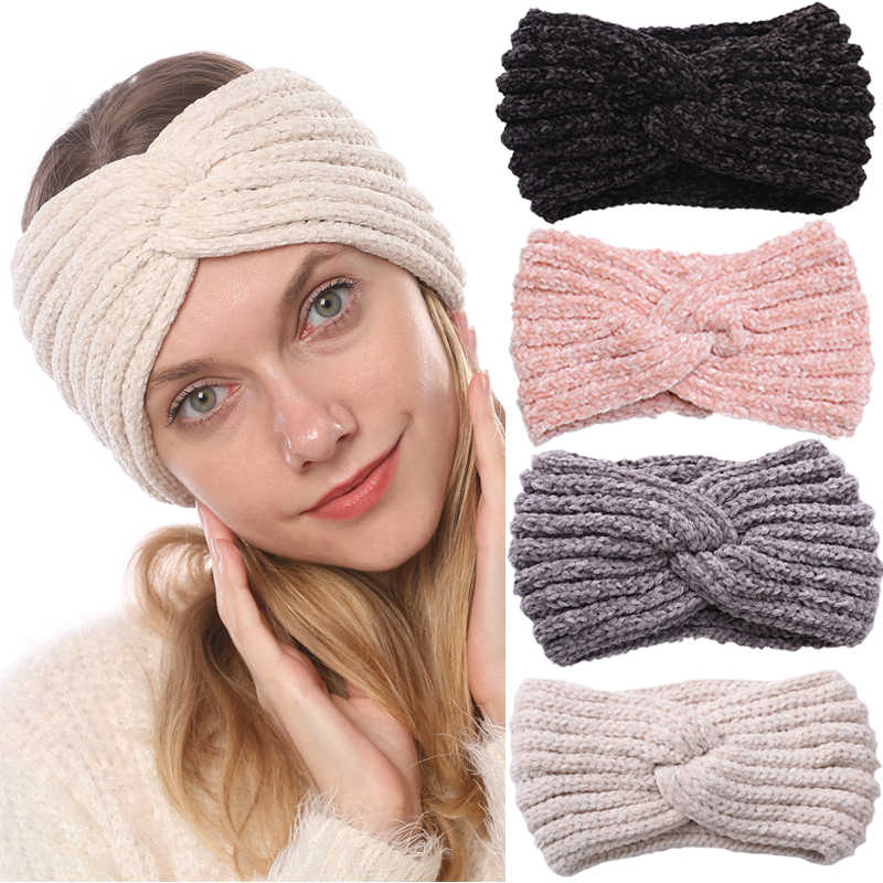 Winter Chenille Knitted Velvet Women Headband Turban Solid Color Warm Ear Warmer Hairband Women Hair Accessories Head Band