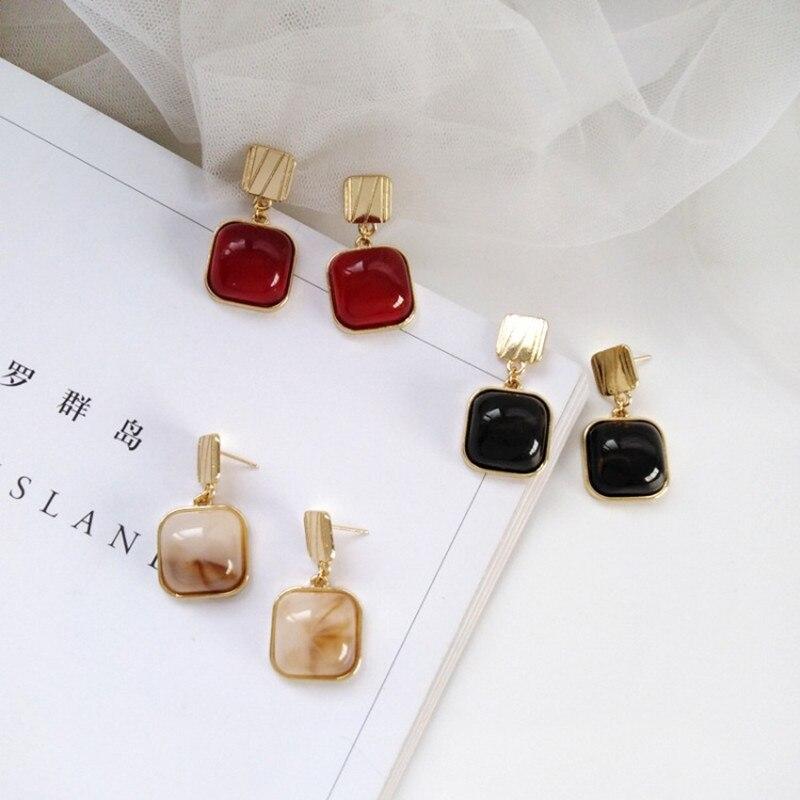 Enamel Fashion Zinc Alloy Metal Green Drip Stud Earrings Geometric Exaggerate Jewelry Accessories