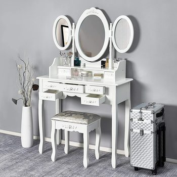 Europe Style Bedroom Dressing Table Furniture Makeup Mirror Makeup Table in MDF with 7 Drawers and 3 Oval Rotatable Mirrors