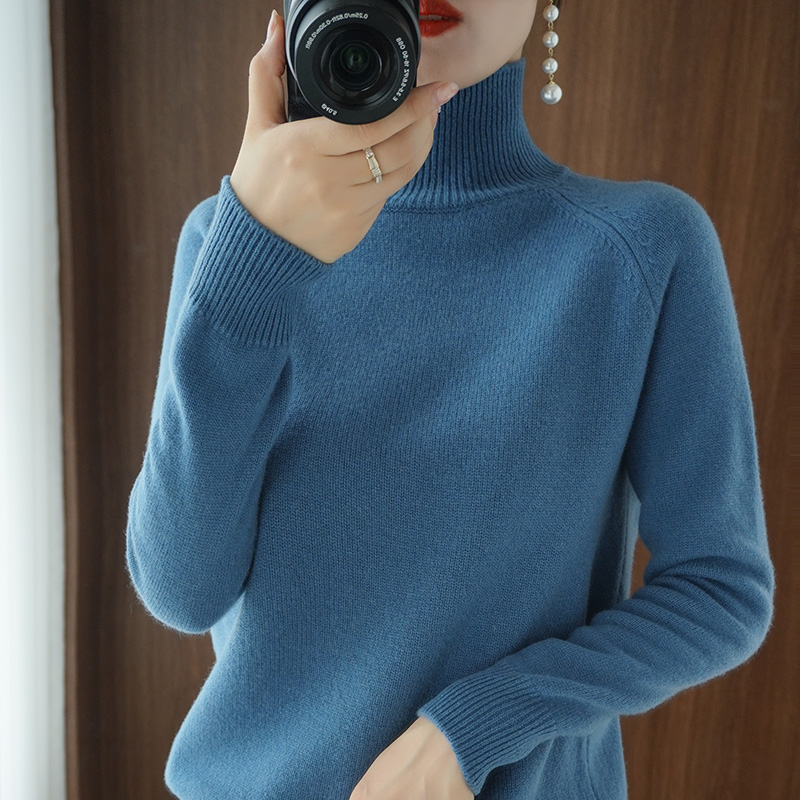 Turtleneck Cashmere sweater  women winter cashmere jumpers  knit  female long sleeve thick loose pullover 5