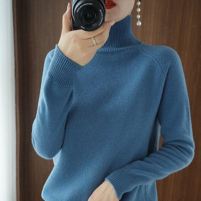 Женский кашемировый свитер с высоким воротником и длинными рукавами 5