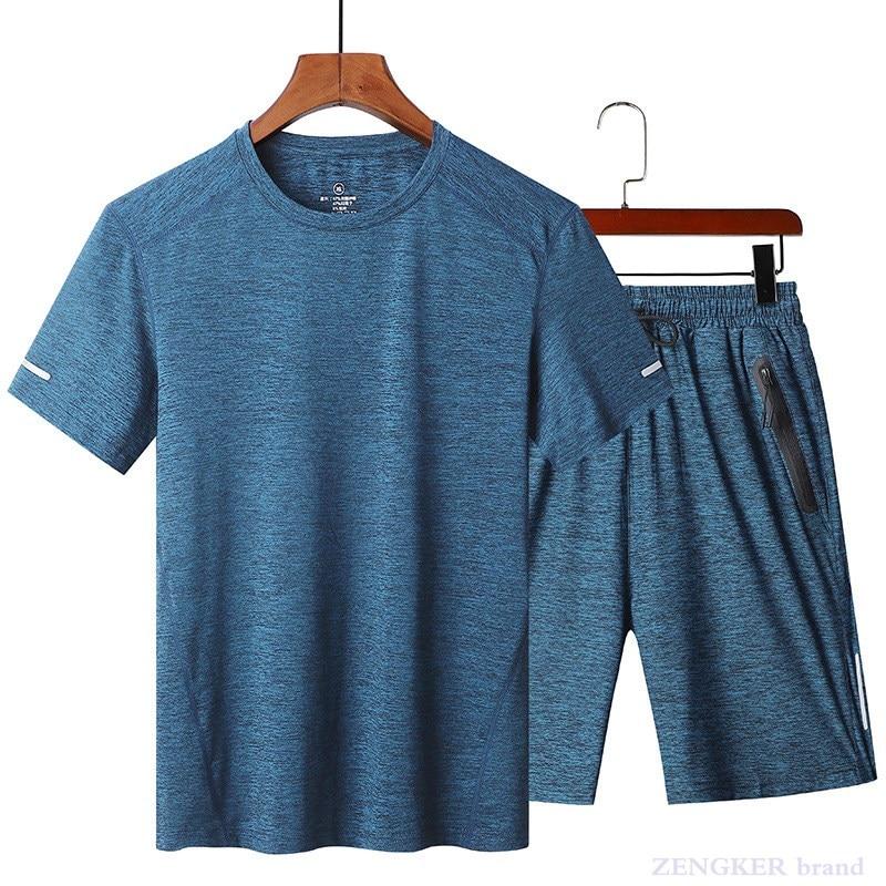 Summer Thin Men's Casual Sports Suits Fitness Clothes Plus Fertilizer Plus Size Loose Running Clothes 8xl130 Kg