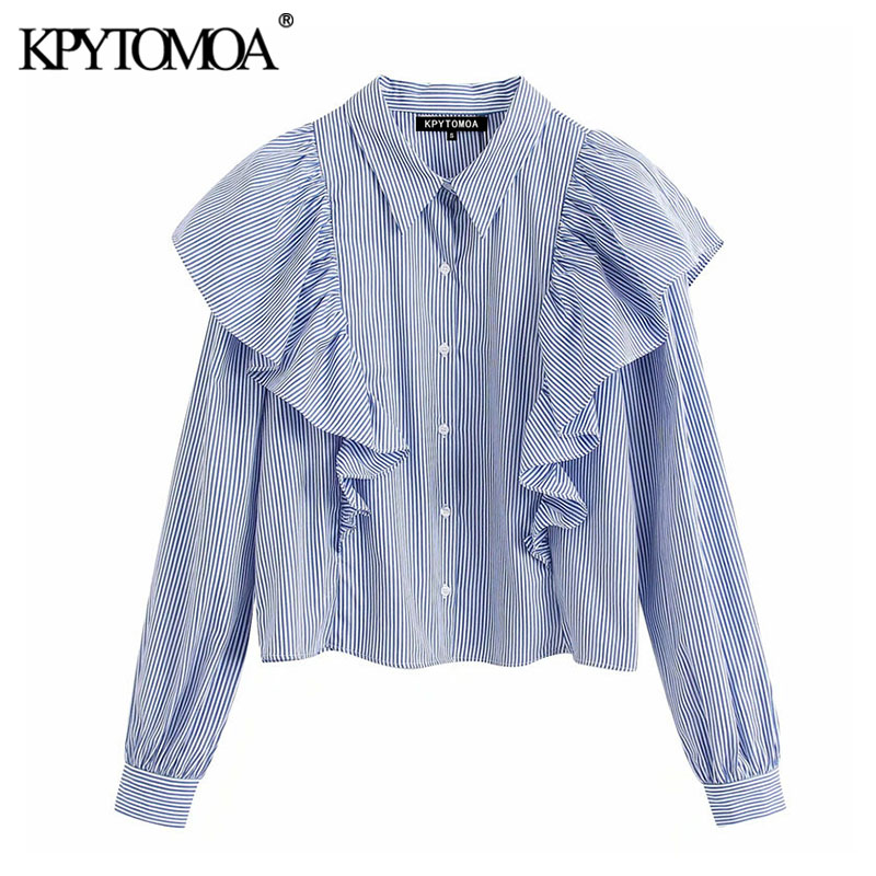 KPYTOMOA Women 2020 Vintage Fashion Striped Ruffled Blouses Lapel Collar Long Sleeve Office Wear Female Shirts Blusas Chic Tops