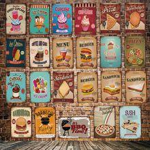 [ DecorMan ] FAST FOOD SUSHI HANBURGER  SENDWICH CUPCAKE Tin Signs Custom wholesale PostersMetal Painting Bar PUB Decor LT-1776
