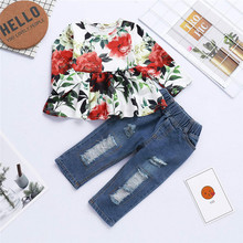 Get more info on the 2019 Fashion Toddler Baby Girls Clothing Baby Girl Floral Print Dress Ruffles Tops+Denim Pants Jean Clothes Sets #30