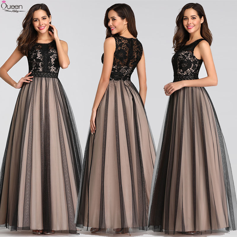Elegant Evening Dresses Long Queen Abby A-line O-Neck Tulle Sleeveless Lace Wedding Guest Gowns Sexy Party Gowns Plus Size