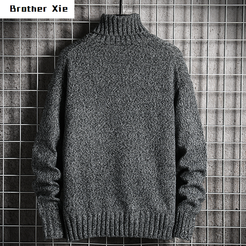 Winter Thicken Turtleneck Sweater Men's Slim Fashion Warm Solid Color Knit Pullover Man Wild Casual Long Sleeve Sweater M-5XL