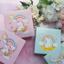 18.5*18.5*6cm 3set Blue Pink Smiling Unicorn Design Paper Box + Bag As Cookie Candy Handmade Sweet Baby Shower Birthday Gift Use