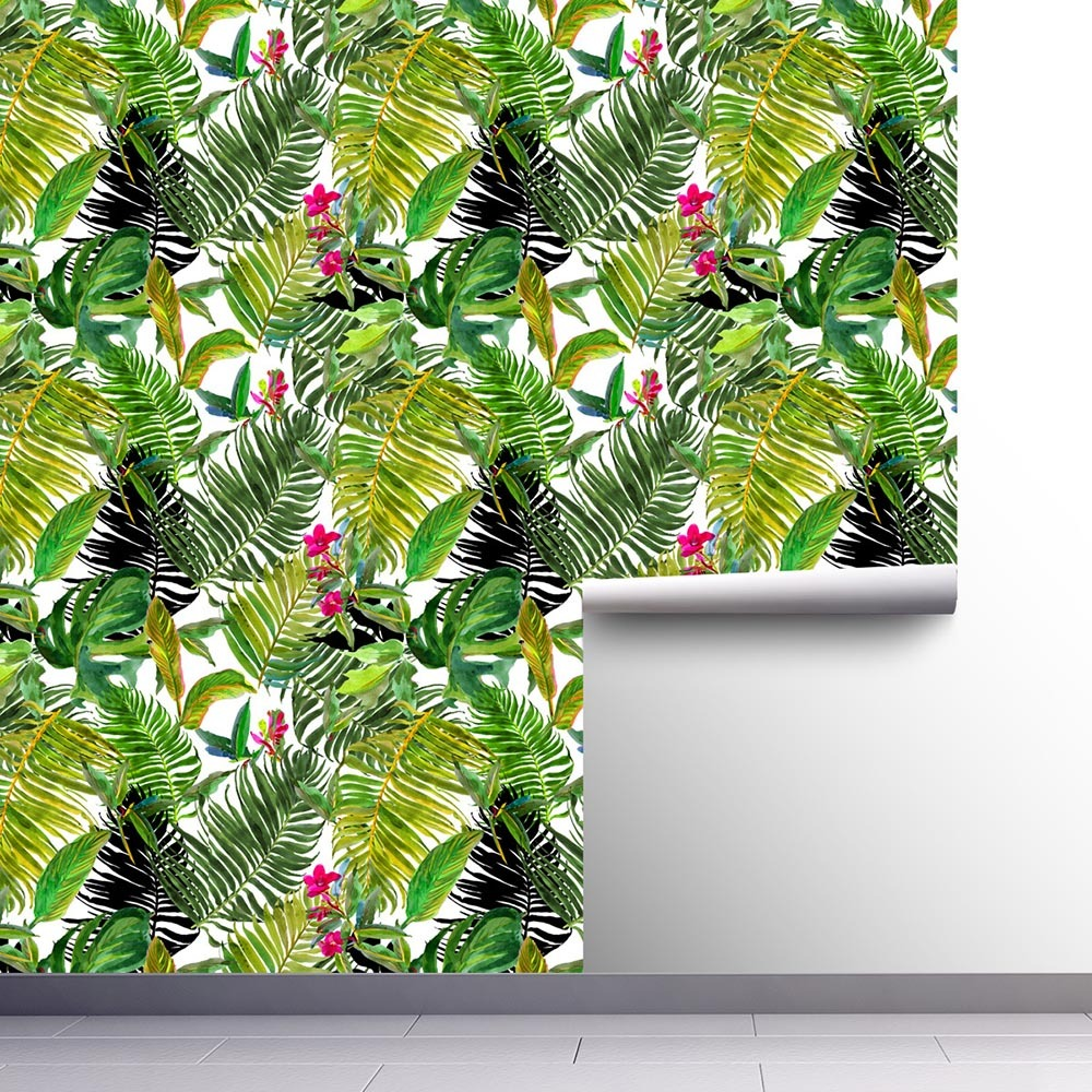 1pc Diy Pvc Wall Sticker Wallpaper Self Adhesive Tropical Palm Leaf Peel And Stick Wallpaper Waterproof House Room Decor Wall Stickers Aliexpress