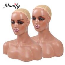 Cabeza de maniquí femenino realista, busto de cabeza de maniquí con hombro para pelucas, Accesorios de belleza, modelo de exhibición, cabezas de peluca