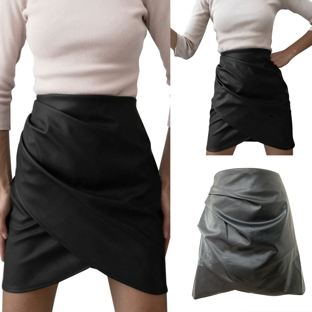Women's   High Waist Sexy Pleated leather skirt solid color  Mini Skirt юбка женская юбки женские кожаная юбка юбка карандаш