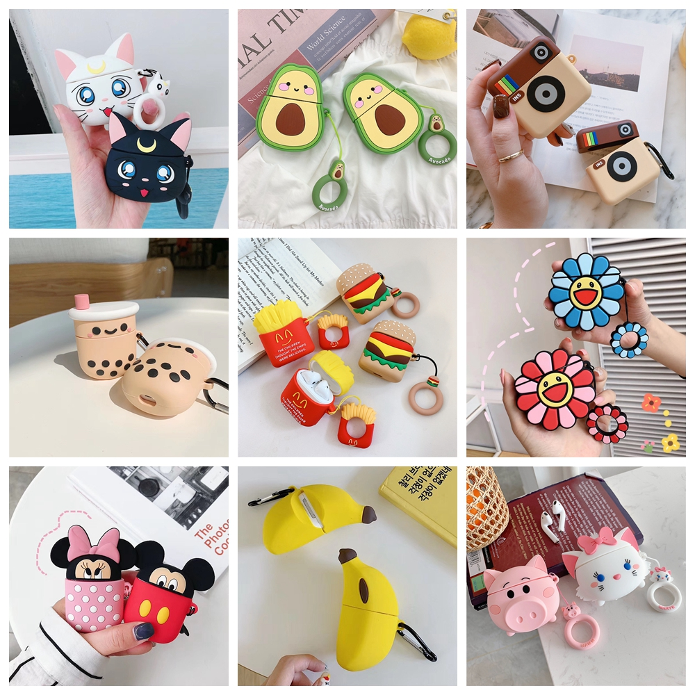 Wireless Charging Protect Box For Air Pods 2 Case Cute Avocado Mickey Earphone Case For Apple AirPods Headphone Case Cover Bags