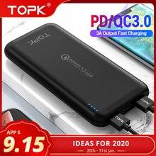 TOPK 10000mAh Power Bank 18W USB Type C External Batteries Q