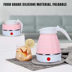 Biały/niebieski/różowy czajnik elektryczny Travel 0.6L Mini składany czajnik silikonowy podgrzewany bojler na wodę domowe czajniki elektryczne Camping w Czajniki elektryczne od AGD na