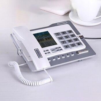 Office Home telefon przewodowy telefon z identyfikatorem dzwoniącego/czekaniem na połączenie, zestawem głośnomówiącym, czarną listą, kalkulatorem i budzikiem podwójny interfejs