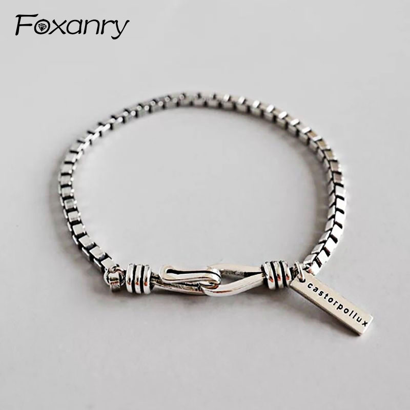 Foxanry 925 Sterling Silver Vintage Bracelet Terndy Simple Box Chain Bracelet Wedding Jewelry For Women Size 18.5mm Adjustable