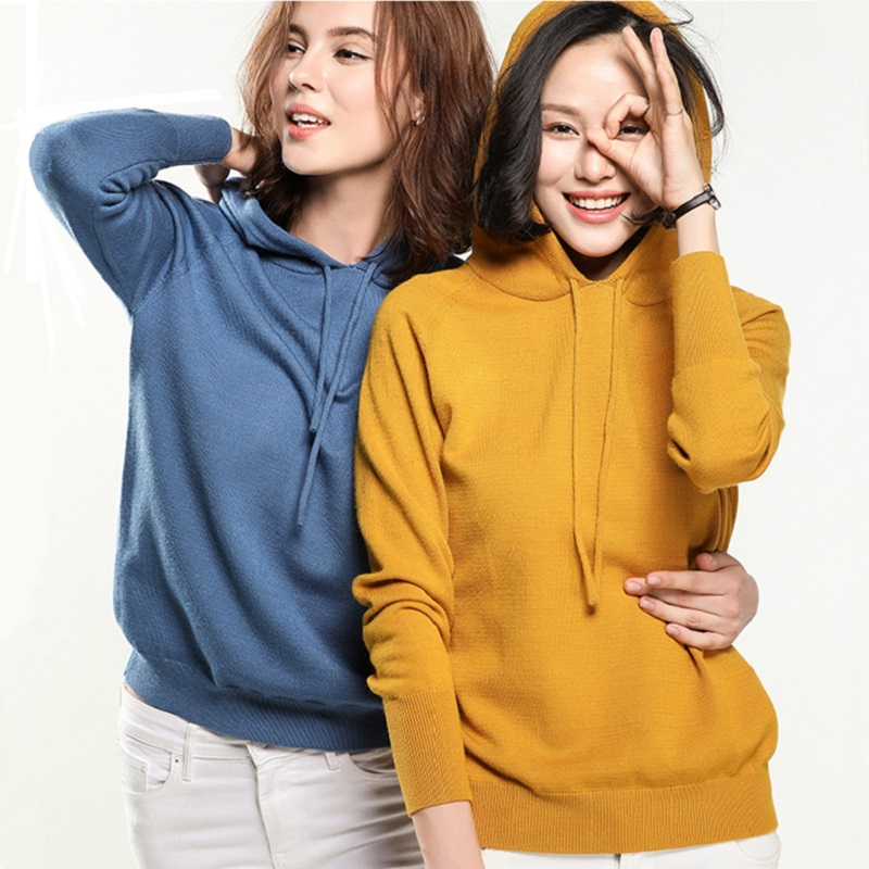 Woman Knit Pullover Solid Hooded Sweater Female Long Sleeve Korean Chic Soft Jumpers Women Sweater Ladies Knitwear Pull Femme