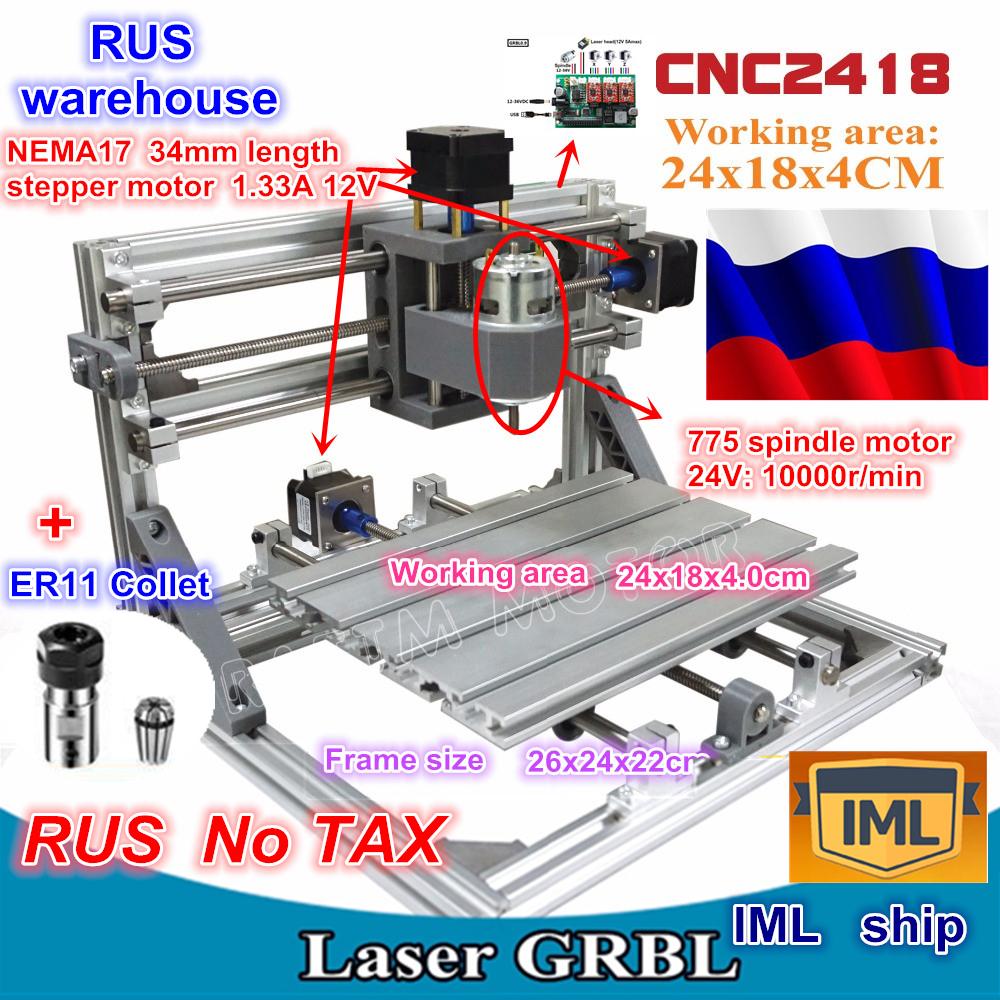 RU Ship 2418 GRBL Control DIY CNC Machine Working Area 24x18x4.0cm,3 Axis Pcb Milling Machine Wood Router,Carving Engraver,v2.5