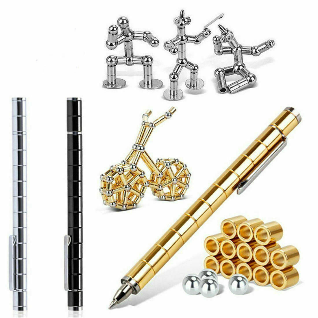 Modular Polar Pen Magnetic Magnets Ball Touch Pen With 12 Steel Balls In Box Adult TOY Gift