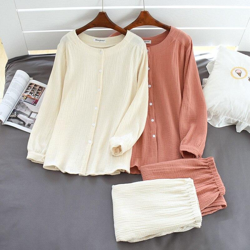 Image 2 - 2020 New Autumn Cotton Crepe Long Sleeved Trousers Pajamas for Women Sleepwear Pyjamas Women Plus Size Breathable Home ClothesPajama Sets   -