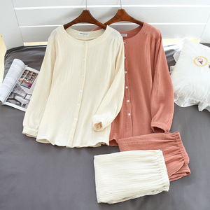 Image 2 - 2020 New Autumn Cotton Crepe Long Sleeved Trousers Pajamas for Women Sleepwear Pyjamas Women Plus Size Breathable Home Clothes