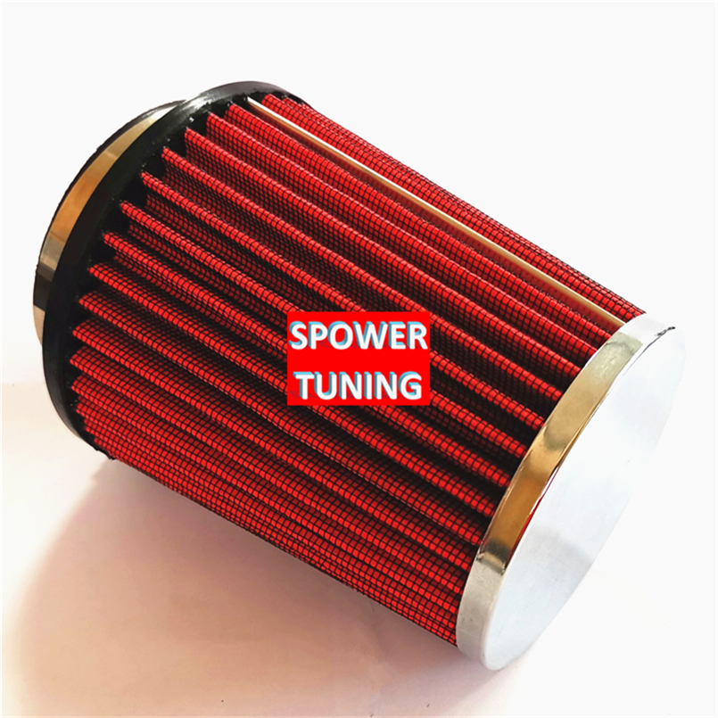 "2.75/"" Inlet Short Ram Cold Air Intake Dry Filter Round Universal RED For Audi 1"