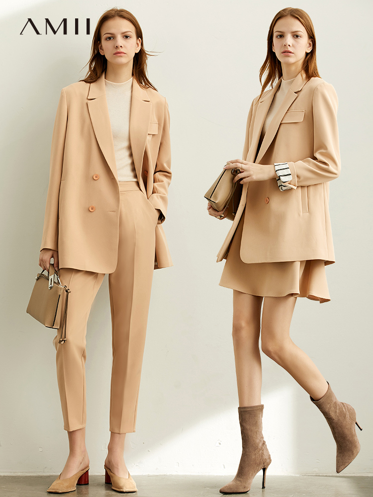 Amii 2020 Office Lady Fashion Skirt&Pants + Coat Two Piece Set Women's Spring Solid New Suit Jacket Englishism 11930300