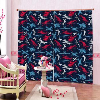Luxury Blackout 3D Window Curtains For Living Room Bedroom Customized size blue blackout fly curtains