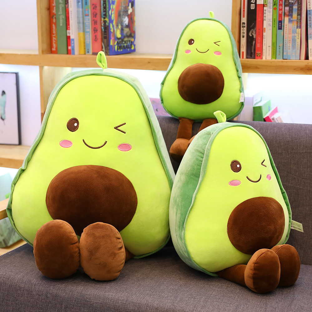 30-85CM Cute 3D Avocado Stuffed Plush Toy Soft Baby Doll Cartoon Fruit Pillow Sofa Cushion Kids Girls Christmas Birthday Gifts