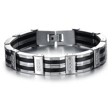 купить 316L Stainless Steel Men Bracelet Male Bangle Silicone Mens Bracelets & Bangles Fashion Hand Chain Jewelry Armband по цене 572.5 рублей
