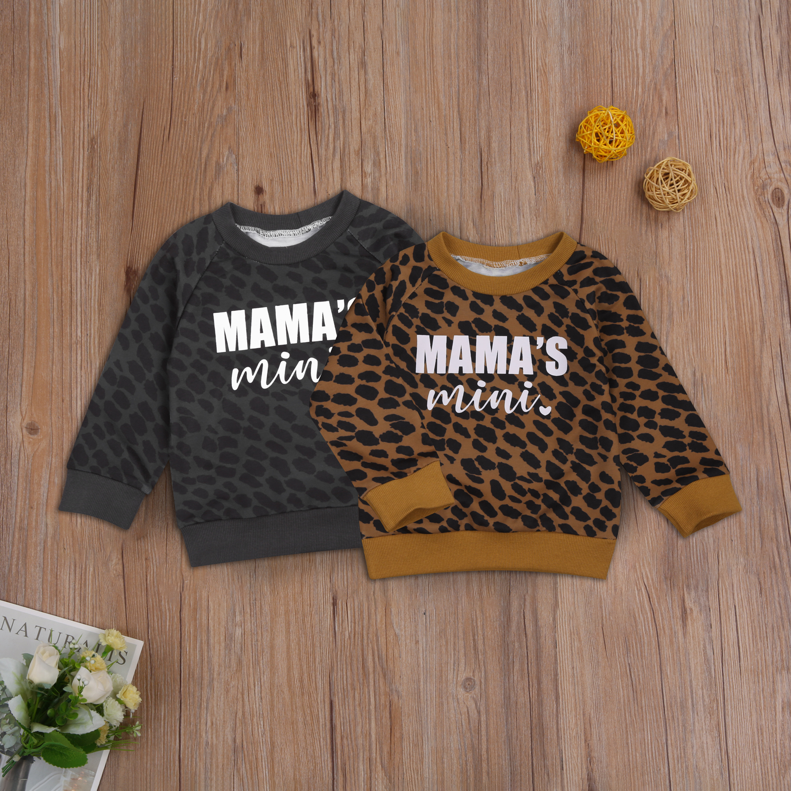 Ma&Baby 0-3Y Autumn Winter Toddler Baby Kid Girls Boys Leopard Sweatshirts Long Sleeve Letter MAMA'S MINI Casual Baby Clothes 2