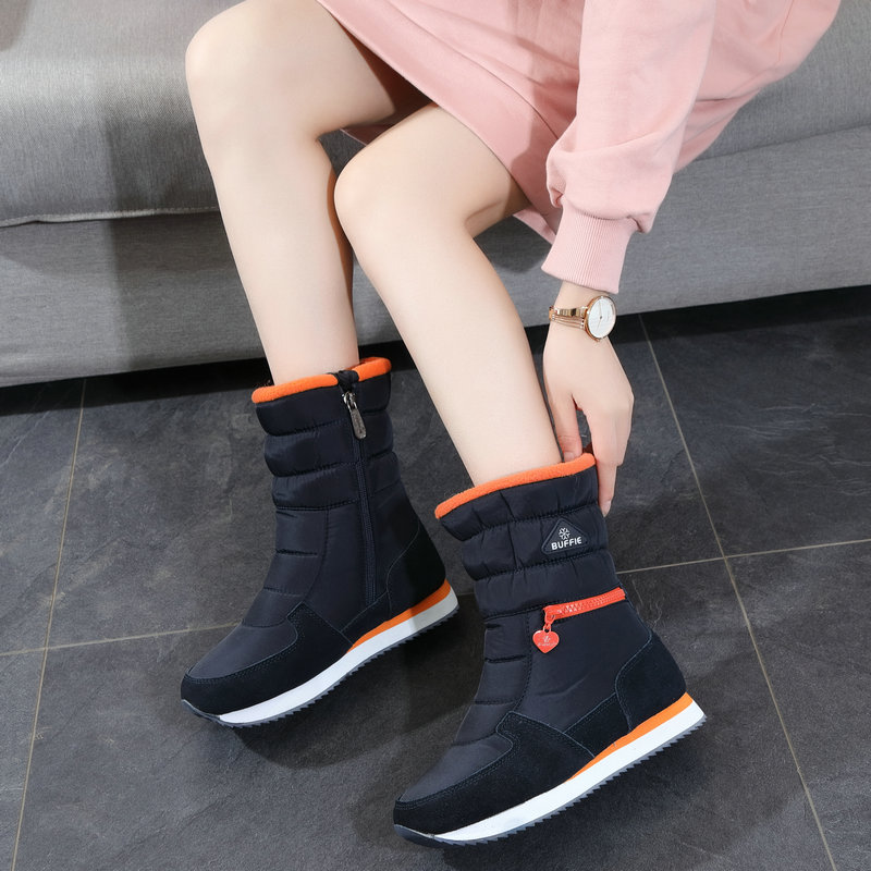 Women winter snow boots navy shoes warm fur plus size fabric upper non-slip outsole nice look easy wear light  free shipping