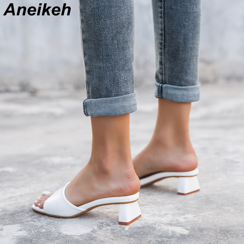 Aneikeh Sexy MULES Middle Heel Slippers Women Square Open Toe Strange High Heel Beach Slides Summer Mules Dress Pumps Size 41 42