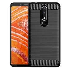Fibra de carbono caso do telefone para nokia 2 v 2.2 silicone anti-knock capas para nokia 1 5.1 6.1 7 plus 8 8.1 capa traseira pára-choques