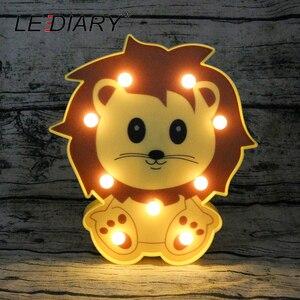 Image 2 - LEDIARY 3D צבעוני בעלי החיים LED לילה אורות חמוד פנדה האריה דביבון צורת המיטה שולחן מנורת לילדים צעצוע לילדים יום מתנה