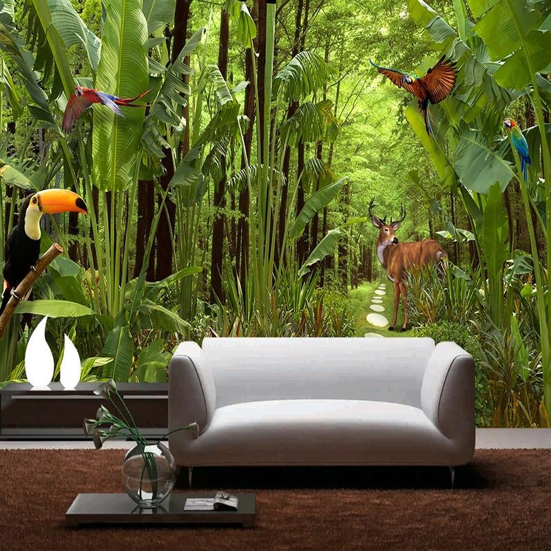 Dropship Photo Wallpaper Modern Tropical Rain Forest Murals TV Sofa Restautant Cafe Background Wall Decor Waterproof Canvas