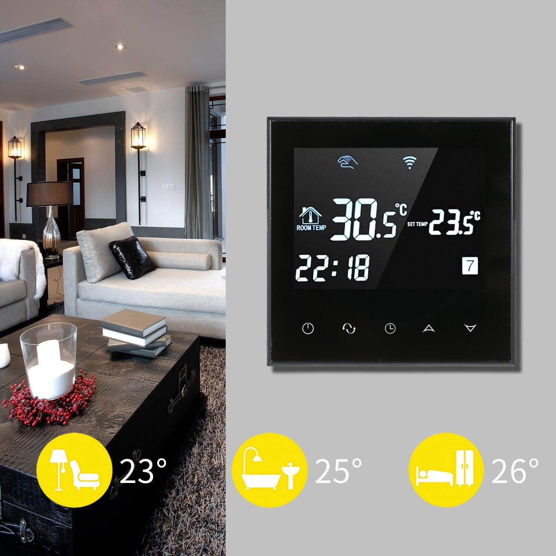 HY03WE-4 WIFI Thermostat intelligent régulateur de température hebdomadaire Programmable tactile Scereen affichage numérique
