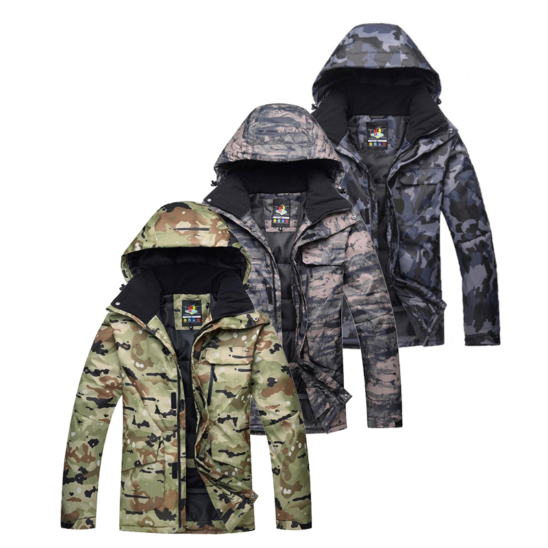 -30 Large Camouflage Men's Snow Suit Wear Snowboard Jackets Skiing Coats Waterproof Windproof Winter Outdoor Costumes For Male