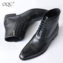 OQC Men Zipper Ankle Boots Winter Cross-tied Pointed Toe Low Heel Breathable Business Boot Retro Male  Lace Up Chelsea Boots D25 prova perfetto euramerican pointed toe chunky heel chelsea boots women black white genuine leather cross tied knight boot female