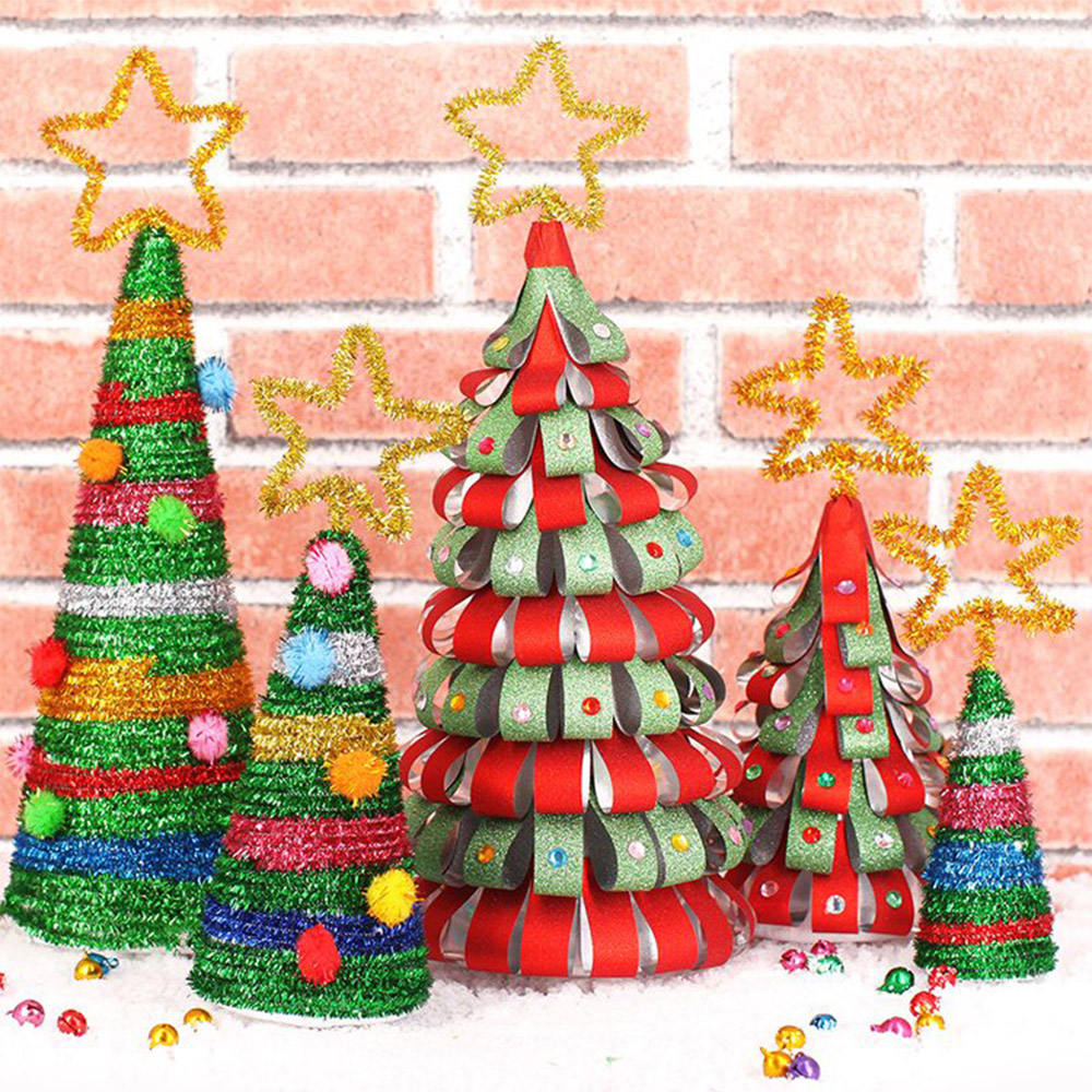 Homemade DIY Christmas Tree Detachable Mini Christmas Tree Paper Ornaments Kids Decorate Gifts Creative DIY Craft Toys