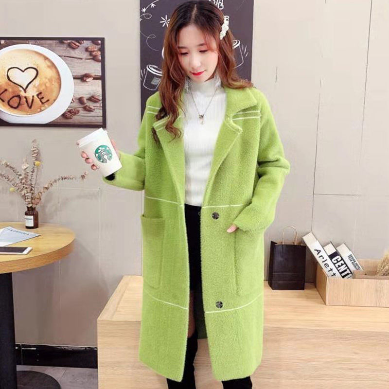 2019 Women Faux Mink Knitted Sweater Coat Female Oversize Thicken Long Jacket Tricot Open Stitch Outerwear Casaco Mujer  Z61