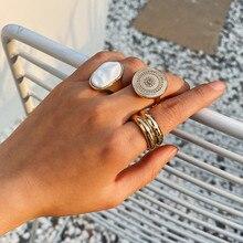 AOMU 2020 nuevo 3 unids/set anillo de Metal de Color dorado moda étnica retro geométrico redondo anillos grandes para mujeres joyería de fiesta